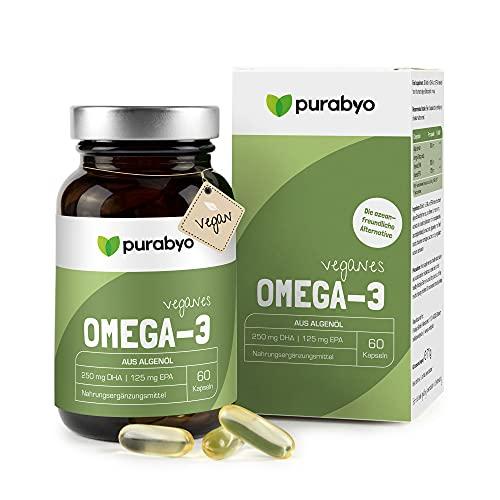 Algenöl OMEGA 3 Vegan   im Glas   Nur 1 Kapsel täglich   Zwei-Monatsversorgung   hochdosiert   Hoher EPA Gehalt   250 mg DHA und 125 mg EPA