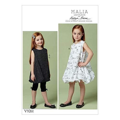 Vogue patronen 9261 CL, kind/meisjes tuniek, jurk en legging, maten 6-8, Tissue Multi-kleur, 15 x 0,5 x 22 cm