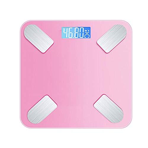 B/H Báscula Inteligente,Balanza electrónica-Pink_Battery,Báscula de baño con Bluetooth y App