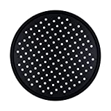 SASFOU Pizza Pan with Holes, 12 Inch Carbon Steel Pizza Pan Non-Stick Bakeware Oven Baking Tray for Home Baking,Kitchen,Oven,Restaurant,Black