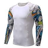 スポーツシャツ メンズ Kukoyo コンプレッションウェア アンダーウェア 長袖 Tシャツ パワーストレッチ フィットネス 加圧 吸汗 速乾 快適 アンダーシャツ コンプレッショントップス インナー UVカット トレーニングウエア アクティブ ランニング