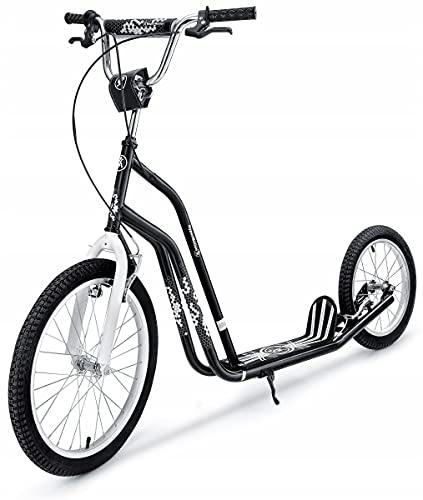 """HyperMotion, Roller für Kinder und Jugendliche, Scooter, Tretroller Cityroller mit großen Rädern, Kinder Roller Kickboard, mit 20\"""" und 16\"""" Rädern, Kickscooter, Weiß/Schwarz"""