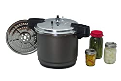 commercial Granite cookware autoclave and stove / steamer, 7 pint or 8 half pint can, 12 quarts, black pressure canners