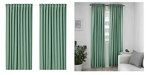 Ikea MAJGULL Blackout Curtains, 1 Pair, Green, 57x98 (145x250 cm)