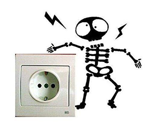 Demarkt – Interruptor de pared, adhesivo de pared, adhesivo de pared, adhesivo decorativo para pared, plástico, Huesos negros., 15*10cm