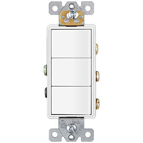 ENERLITES Triple Paddle Rocker Combination Decorator Switch, Ground terminal, Clamp-Type Back Insert Wiring, Copper Only, Single Pole, Residential Grade, 15A 120V-277V, 62755-W, White