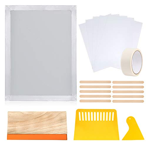Caydo 20 Pieces Screen Printing Kit for Starter Include 10 x 14 Inch Aluminum Silk Screen Printing Frame with 110 White Mesh, Screen Printing Squeegees, Inkjet Transparency Film and Mask Tape