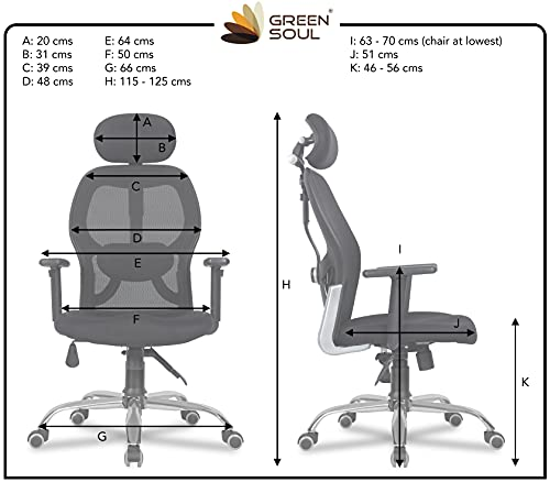 Green Soul Newyork High-Back Mesh Office Executive Ergonomic Chair with Adjustable Arms and Tilt Lock (Black)