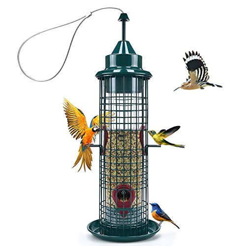 Green Caged Tube Bird Feeder Hanging Premium Squirrel Proof Wild Bird Feeder All Metal Cage Polycarbonate Feed Tube with 4 Feeding Ports for Outdoor Small Bird Wild Shelter