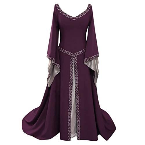 Medieval Dress,Forthery Renaissance Irish Dress for Women Plus Size Long Dresses Lace up Costumes Retro Gown(Purple,XXL)