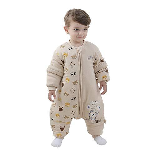 Baby Schlafsack mit Beinen Warm gefüttert winter kinder schlafsack abnehmbaren Ärmeln,Junge Mädchen Unisex Schlafanzug (Bear,6-18 Monate(baby height 75-85cm))