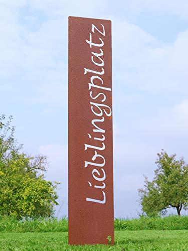 "prima terra ""Lieblingsplatz"" Gartenstele Edelrost Stele Dekoration Gartendekoration Deko Garten H=120cm B=20cm - 8"