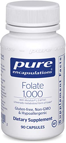 Pure Encapsulations - Folate 1000 - Hypoallergenic Supplement with Metafolin L-5-MTHF - 90 Capsules