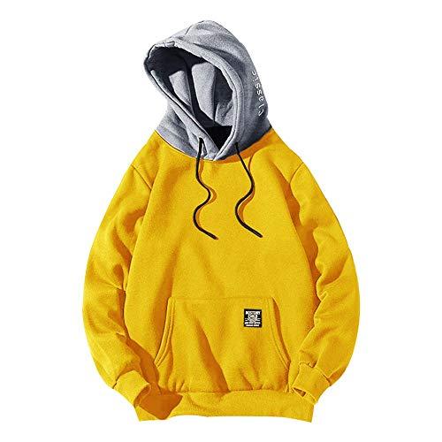 ZAFUL Sudadera con capucha para hombre, contraste con cordón, parche con detalle de solapa, bolsillo de forro polar, sudadera informal amarillo M