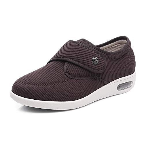 XRDSHY Zapatos para Diabéticos Zapatos Extra Anchos para Edema De Artritis en Hombres Zapatos para Caminar Al Aire Libre en Interiores para Ancianos Cierre Ajustable,Brown-EU39/245mm