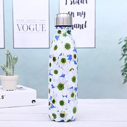 Yywl – Taza de viaje con diseño floral, botella de agua de acero inoxidable, botella de vacío portátil para bicicleta, senderismo, con aislamiento térmico