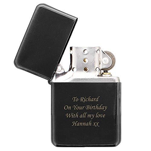 Feuerzeug mit personalisierbarer Gravur, Geschenkidee für Vatertag, Geburtstag oder Weihnachten, Schwarz