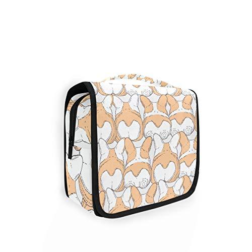 Bolsa de aseo colgante con diseño de perrito de Corgi para viajes, gran bolsa de lavado para mujer, organizador de cosméticos para mujeres, niñas y niños bolsa de ducha
