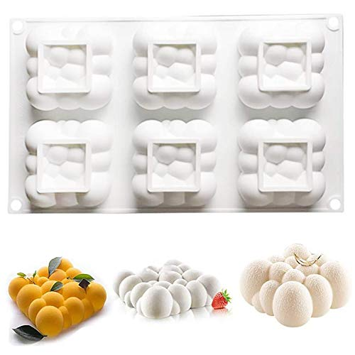 Silicone Mold for Baking 3D Cloud Shape Mousse Cake Mold Pastry Chocolate Dessert Mold (6 Cavity)
