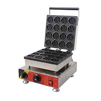 INTBUYING Commercial Electric Mini Round Cake Waffle Maker Nonstick Baker Making Machine 16 Holes 110V