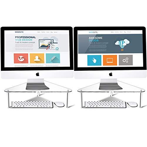 2 Stücke Acryl Computer Monitorständer Dreieck Computerständer Platz Sparen Desktop Ecke Stand für Computer Monitor und Laptop (Klar)
