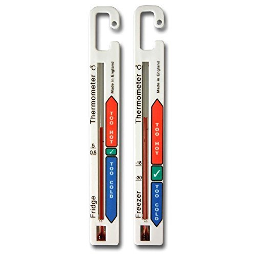 Twin Pack Fridge Freezer Thermometer Pack with Colour Coded Refrigerator...