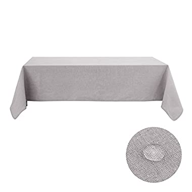 Deconovo Tablecloths For Rectangle Table 60 x 144 Recycle Cotton Fabric Tablecloths For Parties Light Grey