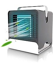 Mini Refrigerador Aire portátil,humidificador Ventilador con Agua USB,36DB Silencioso,Tank Agua 150 ml,Libera 1 millón Iones Negativos,Aire Acondicionado,para Espacios Trabajo y Lectura,Negro