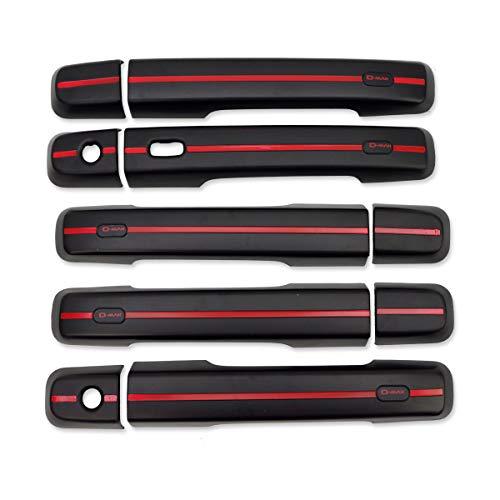Nonstops 4 Door Handle Hand Cover Trim Red Black for Isuzu D-Max Pickup 2012 2018 4x21x2 cm Black