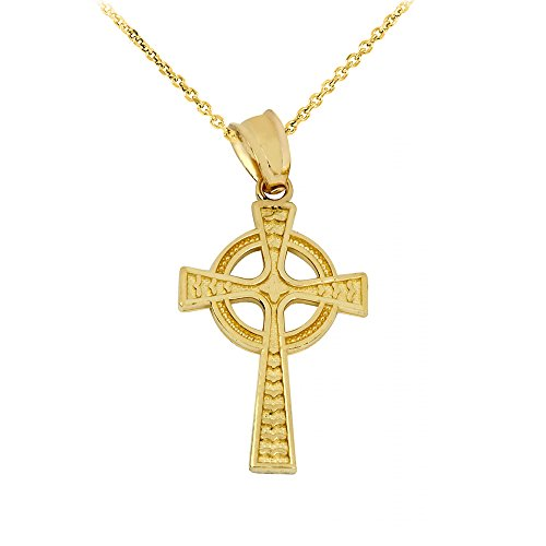 High Polish 14k Yellow Gold Celtic Cross Pendant Necklace, 18'