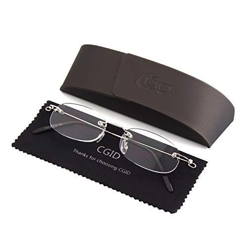 Happy Store Light Unisex Men and Women Stylish Sleek Design Oval Rimless Frameless Magnifying Resin Lenses Spring Hinge Reading Glasses Readers +1.0