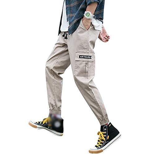Homme Pantalons Casual Sport Jogging Slim Fit Cargo Montagne Baggy Pants avec Poches Grande Taille Kaki 5XL