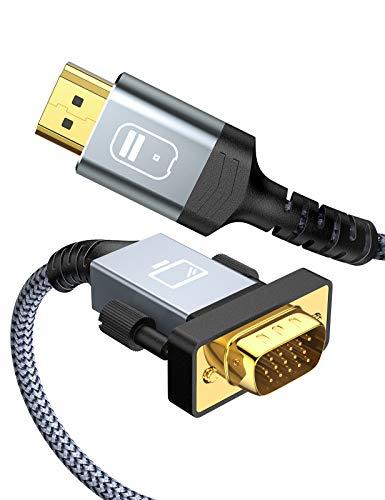 HDMI VGA 変換ケーブル 1.8M 1080p@60Hz HDMI VGA 変換 ケーブル HDMIオスto VGAオス PC、モニター、プロジェクター、HDTVに対応 (1.8M, グレー)