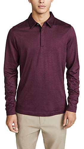 Theory Men's Sartorial Long Sleeve Polo, Chianti, Red, X-Large