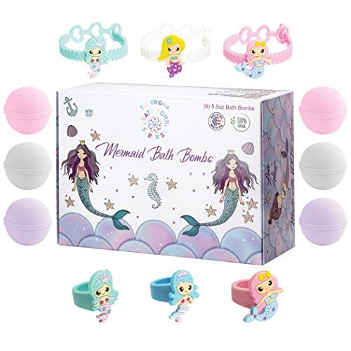 Kids Mermaid Bath Bombs Super Fun Gift Set Fizzies Bubble Bath with Surprise Toys Inside Each Fizzy Bomb, Kid Safe, Natural and Organic Essential Oils, 6x5oz XL Bathbombs USA Handmade With 100% Love