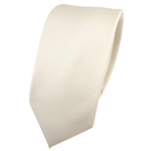 TigerTie TigerTie schmale Designer Krawatte in beige elfenbein champagner einfarbig Uni Rips gemustert