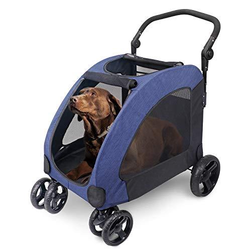 ペットカート 犬用 キャリーカート ペットバギー 折りたたみ式 大型犬 多頭中小型犬 犬用 猫用 ドッグカート-ブルー (307 型)