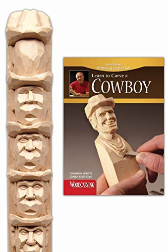 Cowboy Study Stick Kit (Learn to Carve Faces with Harold Enlow): Learn to Carve a Cowboy Booklet & Cowboy Study Stick (Fox Chapel Publishing) High-Quality Resin Study Stick; Step-by-Step Instructions