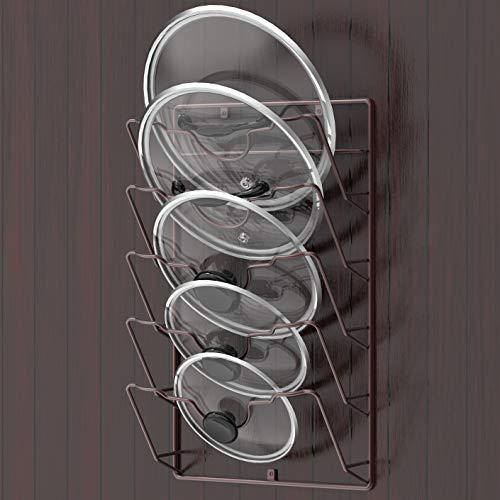 Simple Houseware Wall Door Mounted Pot Lid Rack, Bronze