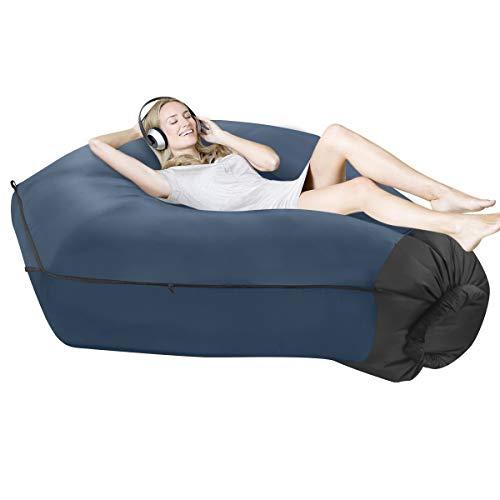SUPTEMPO Aufblasbares Sofa Outdoor Air Lounger Luftsofa Wasserdichtes Luftsack Luftcouch mit Tragebeutel für Camping, Garten, Strand (Navy blau)