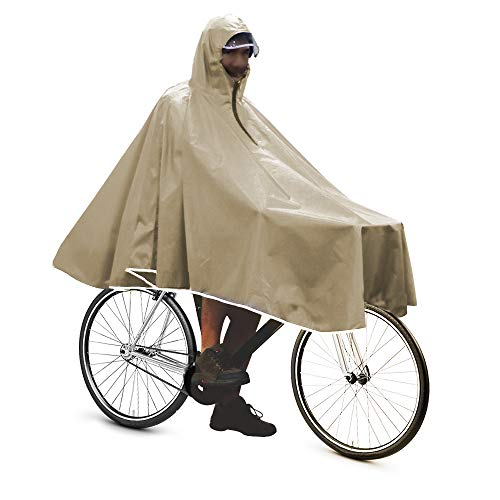 Anyoo Waterproof Rain Poncho Bike Bicycle Rain Capes Lightweight Compact Reusable for Adults Khaki