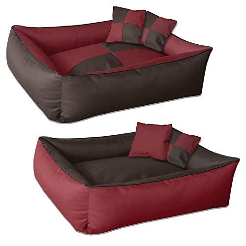 BedDog® 2in1 Max Quattro Marrone/Rosso XXL, 120x85 cm, Letto per Cane L Fino a XXXL, 8 Colori, Cuscino, Divano, Cestino per Cane