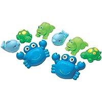 Playgro Set de Animales Rociadores Azul/Verde, 8 figuras, Con Figuras Multicolores, Desde los 6 Meses, Dimensiones: 11cm, Azul/Verde, 40076