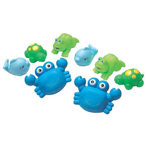 Playgro Spritztier-Set Blau, 8-teilig, Mit bunten Tierfiguren, Ab 6 Monaten, Figurgröße: 11cm, Blau/Grün, 40076