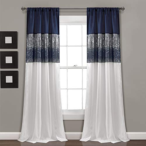 "Lush Decor Night Sky Panel for Living, Bedroom, Dining Room (Single Curtain), 84"" x 42"" Navy and White"