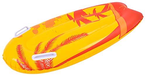 Pullach Hof Kickboard Luftmatratze ca. 100cm x 50cm Kickboardluftmatratze Wellenreiten Haltegriffe Sommer Baden Schwimmen Schwimmbad inklusive Reperaturenset (Orange)