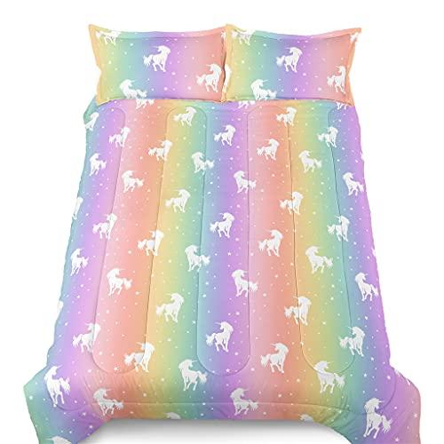 SIRDO Rainbow Unicorn Comforter Set Colorful Down Comforter Soft Microfiber Filling Bedding Sets Twin 1 Comforter 2 Pillowcases