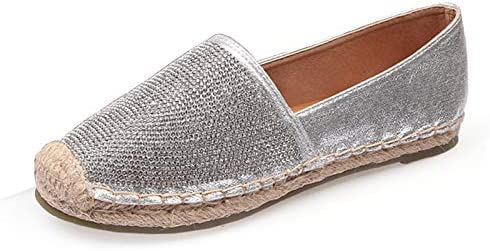 Espadrilles for Women Slip-on Loafer Rhinestone Wedding Flats Shoes