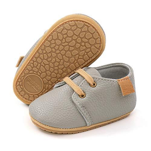 RVROVIC Baby Jungen Mädchen Sneaker Anti-Rutsch Oxford Loafer Flats Säugling Kleinkind PU Leder Weiche Sohle Baby Schuhe, Grau - 1 rauchgrau - Größe: 12-18 Monate