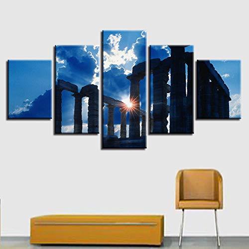 Xvhsx Leinwanddrucke Leinwand Gemälde Wandkunst Hd Drucke 5 Stücke Antiken Griechischen Tempel Gebäude Poster Modulare Wohnkultur Mit Rahmen